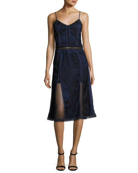 Jonathan Simkhai Scallop Ripple Lace Sleeveless Dress, Black/Blue