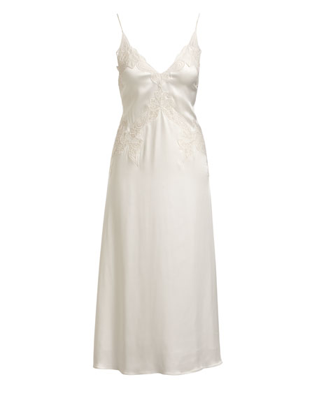 Stretch-Lace Satin Slip Dress