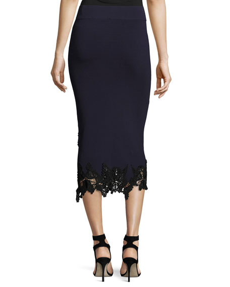 Jonathan Simkhai Applique Knit Midi Pencil Skirt, Black