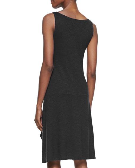 Organic Cotton/Hemp Twist Sleeveless Dress, Black, Petite