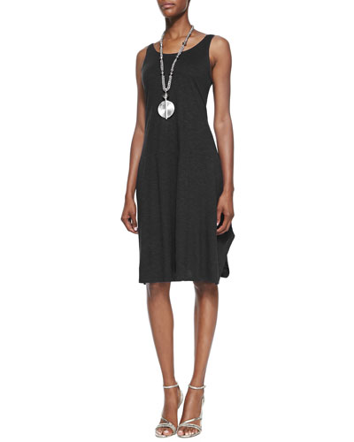 Organic Cotton/Hemp Twist Sleeveless Dress, Black, Petite