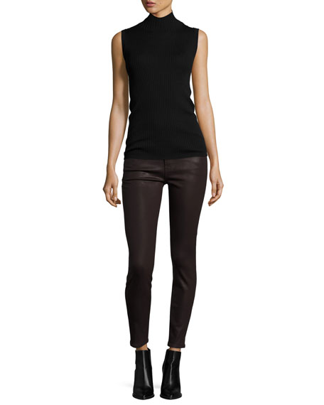 The Ankle Skinny Coated Jeans, Plum