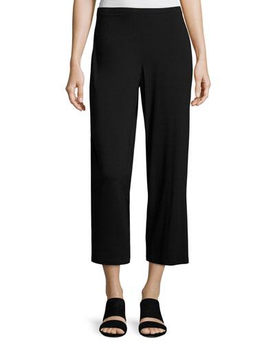 Easy Jersey Cropped Pants, Black, Petite