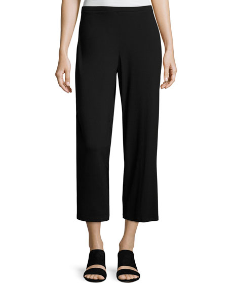 Eileen Fisher Easy Jersey Cropped Pants, Black, Plus