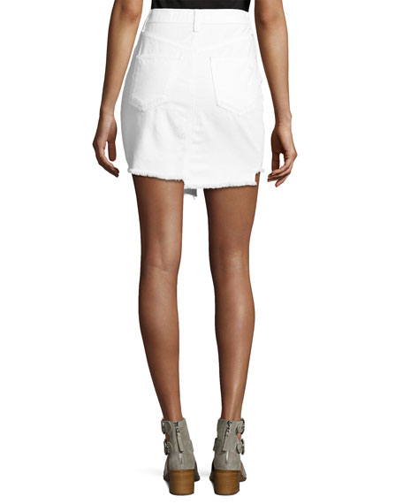 Dive Uneven Frayed Denim Skirt, White