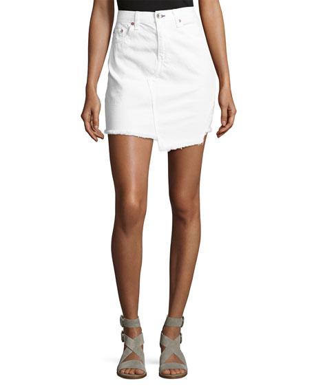Dive Uneven Frayed Denim Skirt, White