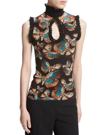 Sleeveless Butterfly-Print Ruffled Keyhole Top, Black Multi
