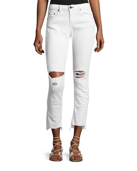 rag & bone/JEAN Dre Distressed Mid-Rise Capri Jeans,