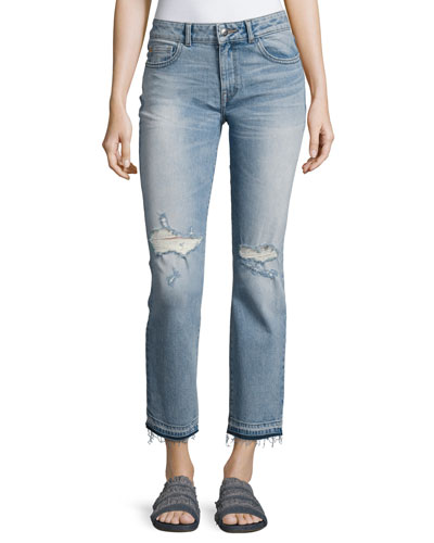 Mara Distressed Ankle Straight Leg Jeans, Indigo