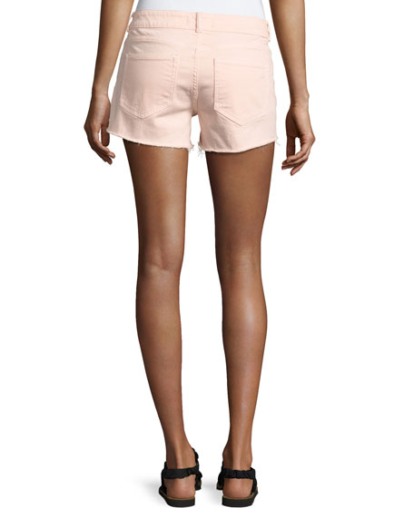 Renee Cutoff Step-Hem Shorts, Pink