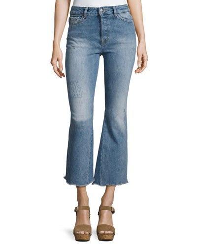 Jackie Crop Flared Raw-Edge Jeans, Indigo