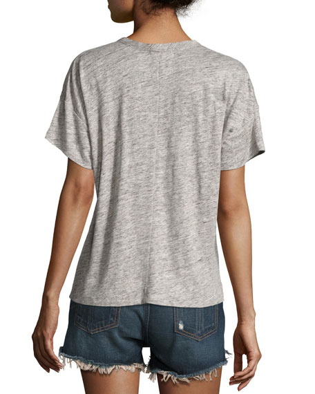 Palm Embroidery Linen Jersey Tee, Gray