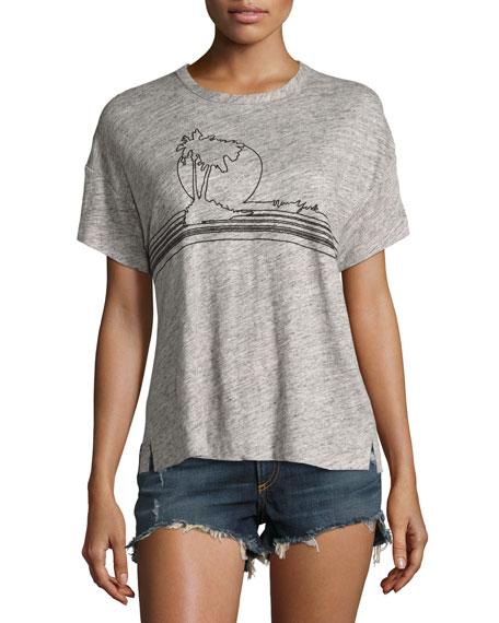 rag & bone/JEAN Palm Embroidery Linen Jersey Tee,