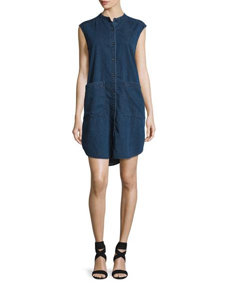 Sleeveless Stretch-Denim Shift Dress, Midnight, Petite