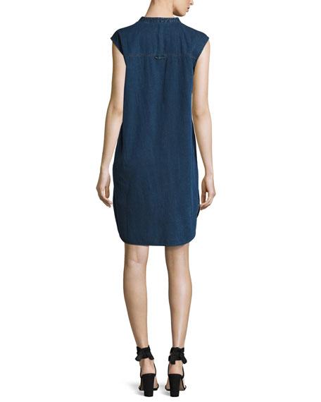 Sleeveless Stretch-Denim Shift Dress, Midnight