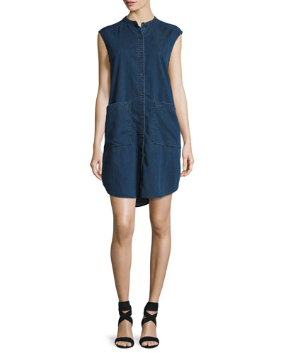 Sleeveless Stretch-Denim Shift Dress, Midnight