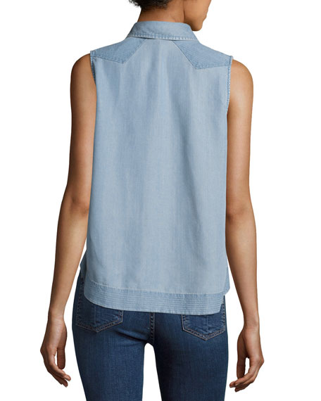 Mojave Sleeveless Button-Front Tank, Indigo