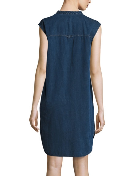 Sleeveless Stretch-Denim Shift Dress, Midnight, Plus Size