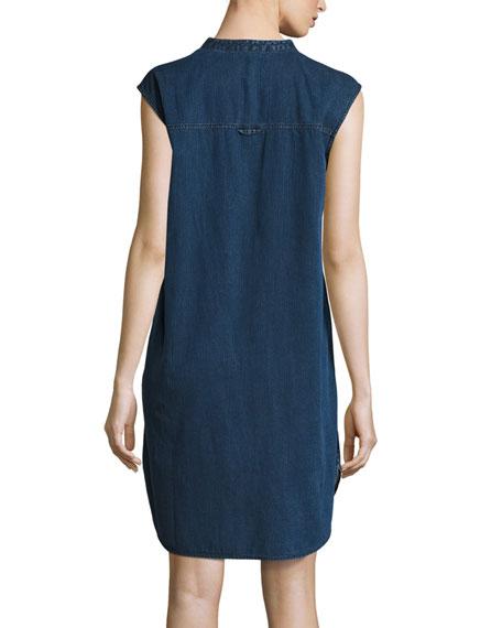 Sleeveless Stretch-Denim Shift Dress, Midnight, Plus Size