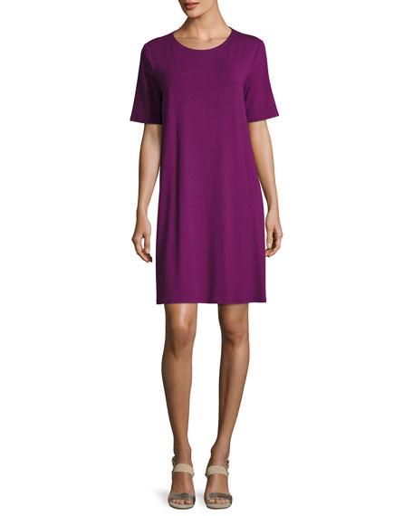 Eileen Fisher Round-Neck Jersey Shift Dress, Petite