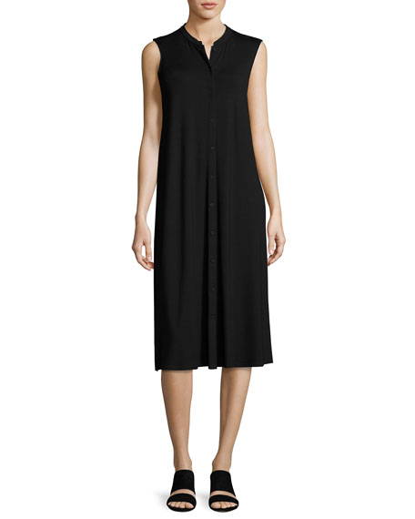 Eileen Fisher Sleeveless Button-Front Jersey Dress, Petite