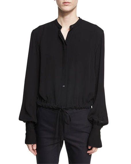 Helmut Lang Slit-Back Drawstring-Hem Crepe Top, Black