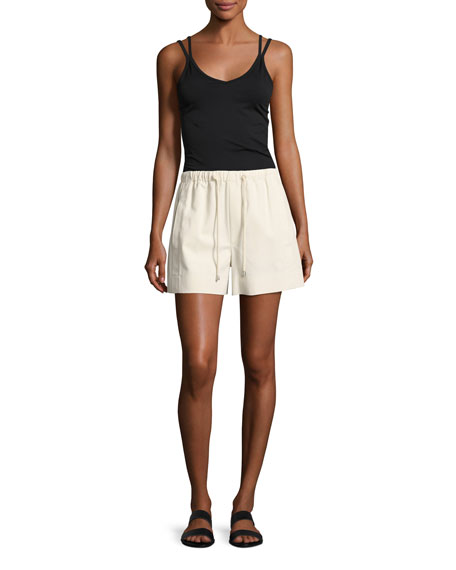 Drawstring Pull-On Cotton Shorts, White