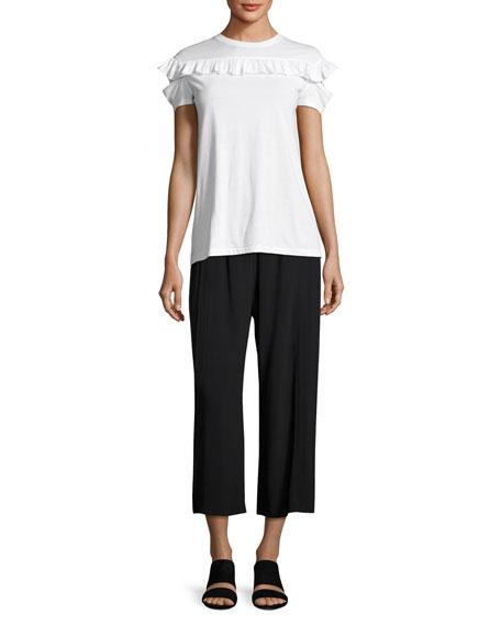 Mid-Rise Crepe Culotte Pants, Black