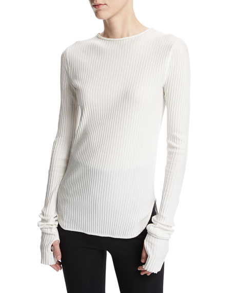 Helmut Lang Corded Rib-Knit Long-Sleeve Cotton Top, White