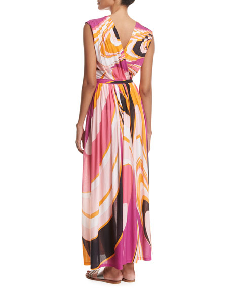Sleeveless Libellula Coverup Maxi Dress, Pink Pattern