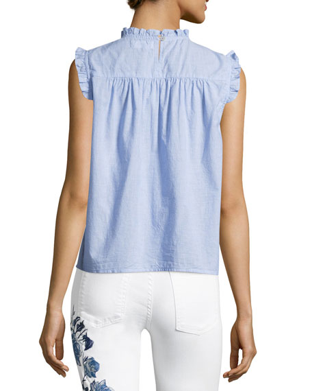 Chenille Sleeveless Cotton Top, Blue