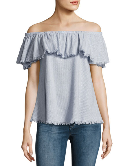 Paloma Off-the-Shoulder Striped Top, Blue