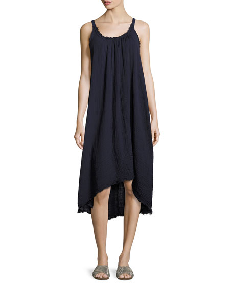 Velvet Caprice High-Low Cotton Midi Dress, Blue