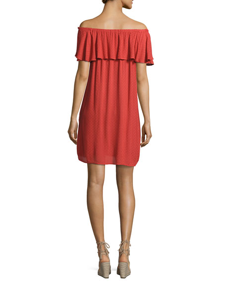 Corra Off-the-Shoulder Shift Dress, Red