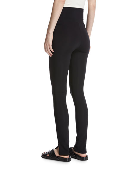 High-Waist Technical Zip Leggings, Black