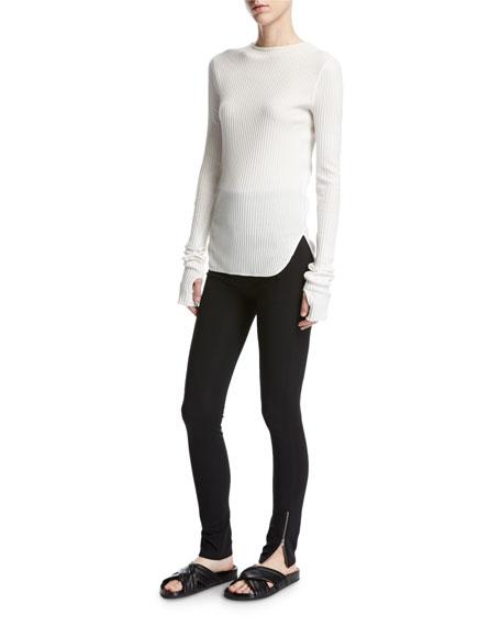 High-Waist Technical Zip Leggings, Black