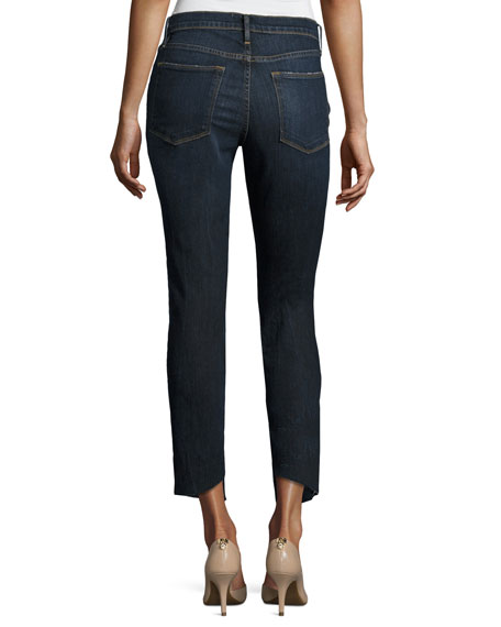 Le High Skinny Crop Cascade Hem Jeans, Blue