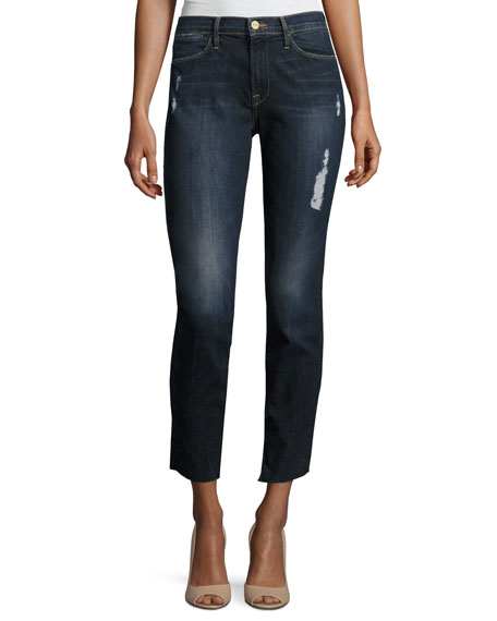 FRAME Le High Skinny Crop Cascade Hem Jeans,