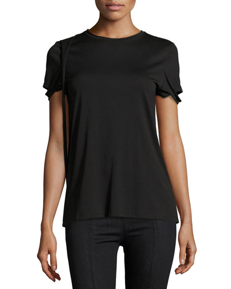 Helmut Lang Strappy Pima Cotton T-Shirt, Black