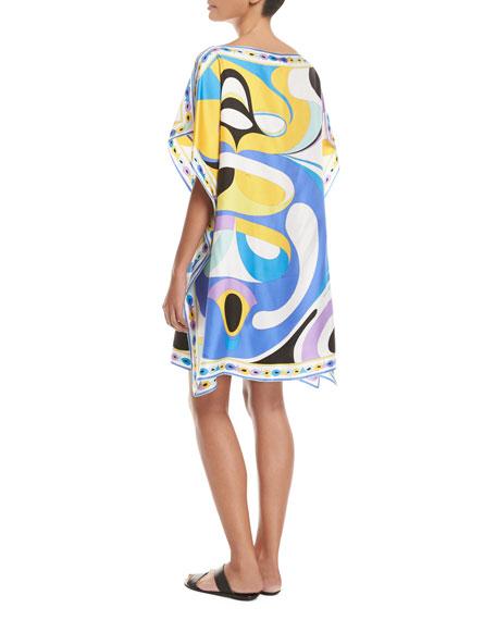 Maschere Short-Sleeve Caftan Coverup, Blue Pattern