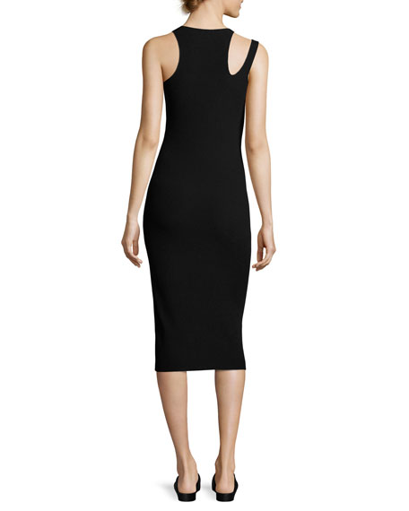 Slash Rib-Knit Sleeveless Midi Dress, Black