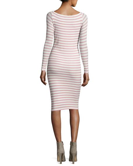 Modal Rib Long-Sleeve Striped Dress