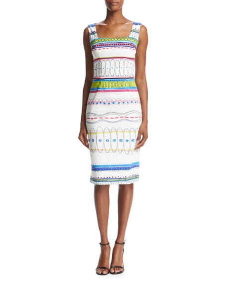 David Meister Sleeveless Printed Sheath Dress, White/Multicolor