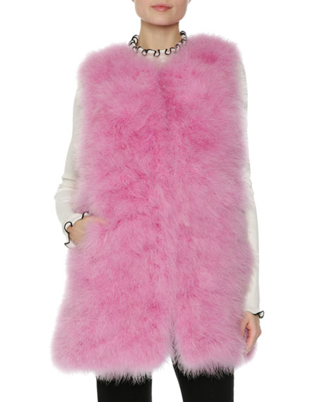 Long Feather Vest, Pink