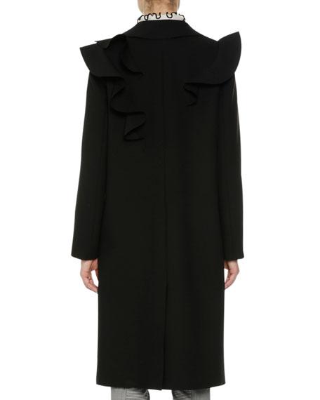 Long Ruffled Coat, Black
