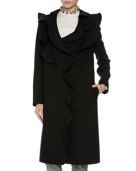 MSGM Long Ruffled Coat, Black
