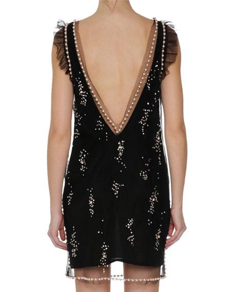 Sleeveless Embellished Dress, Black