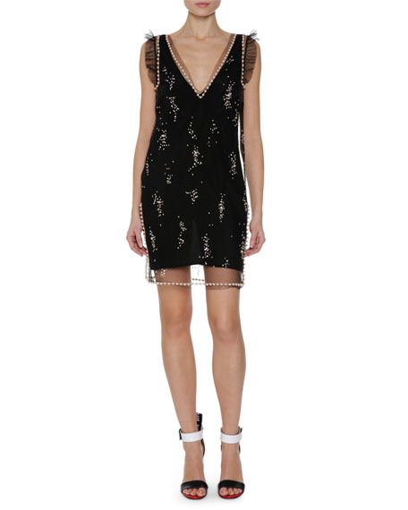 MSGM Sleeveless Embellished Dress, Black