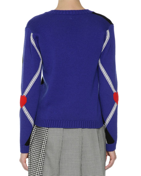 Argyle Long-Sleeve V-Neck Sweater, Navy