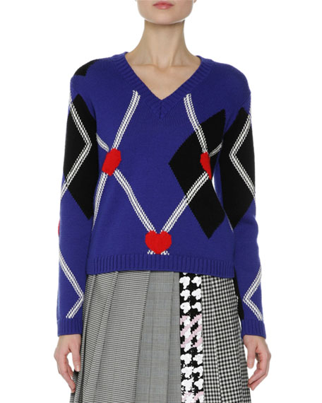 MSGM Argyle Long-Sleeve V-Neck Sweater, Navy and Matching